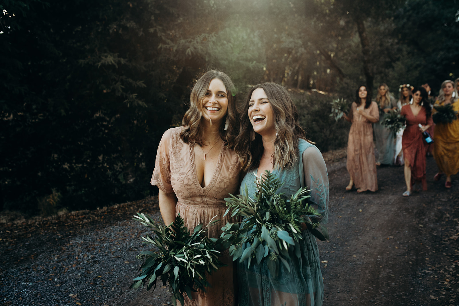Boho Green Bridesmaids Bouquets