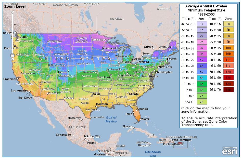 Map of USDA Hardiness Zones.