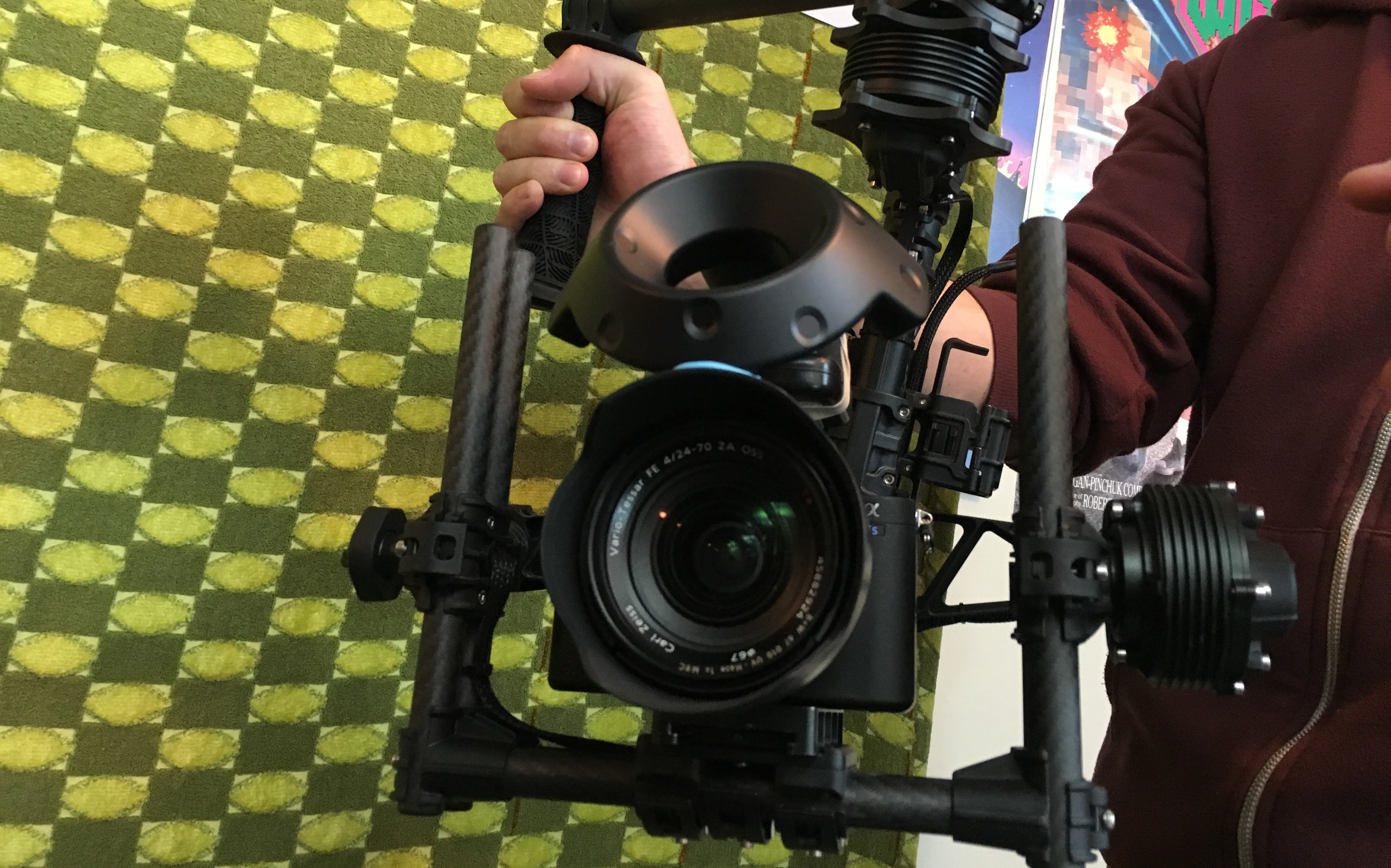 Our initial test mounting the a7S II to the Movi Steadycam with the third VIVE controller on top. In the end, we went with a more rigid solution for the final shoot.