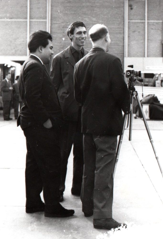 With Wim Crouwel and Ad Windig at the Auping stand 1957. Photo Ine Kho-Roos