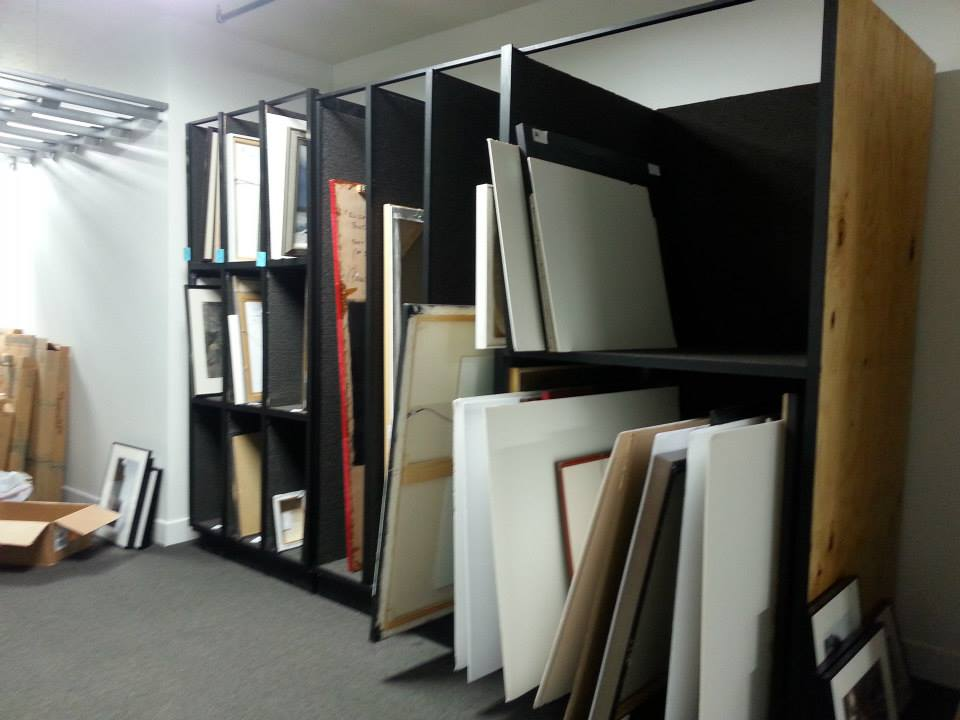Art Storage Cubbies - Lined with carpet and able to be dismantled for portability.