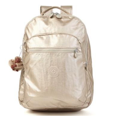 Seoul Metallic Laptop Backpack in Champagne