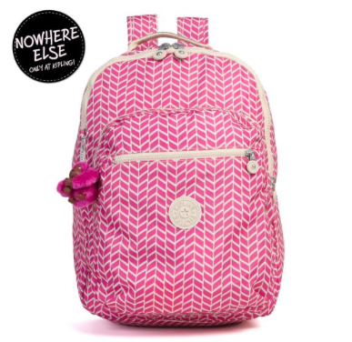 Seoul Printed Laptop Backpack in Chevron Magenta Print (available only on Kipling website)