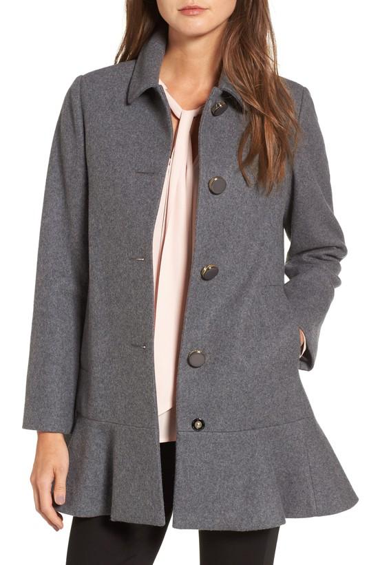 drop waist wool blend coat