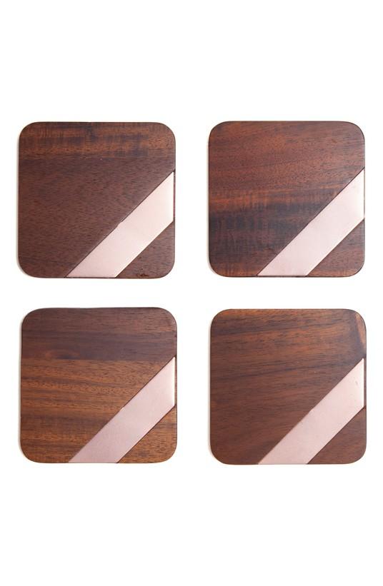 Wood & Copper Coasters