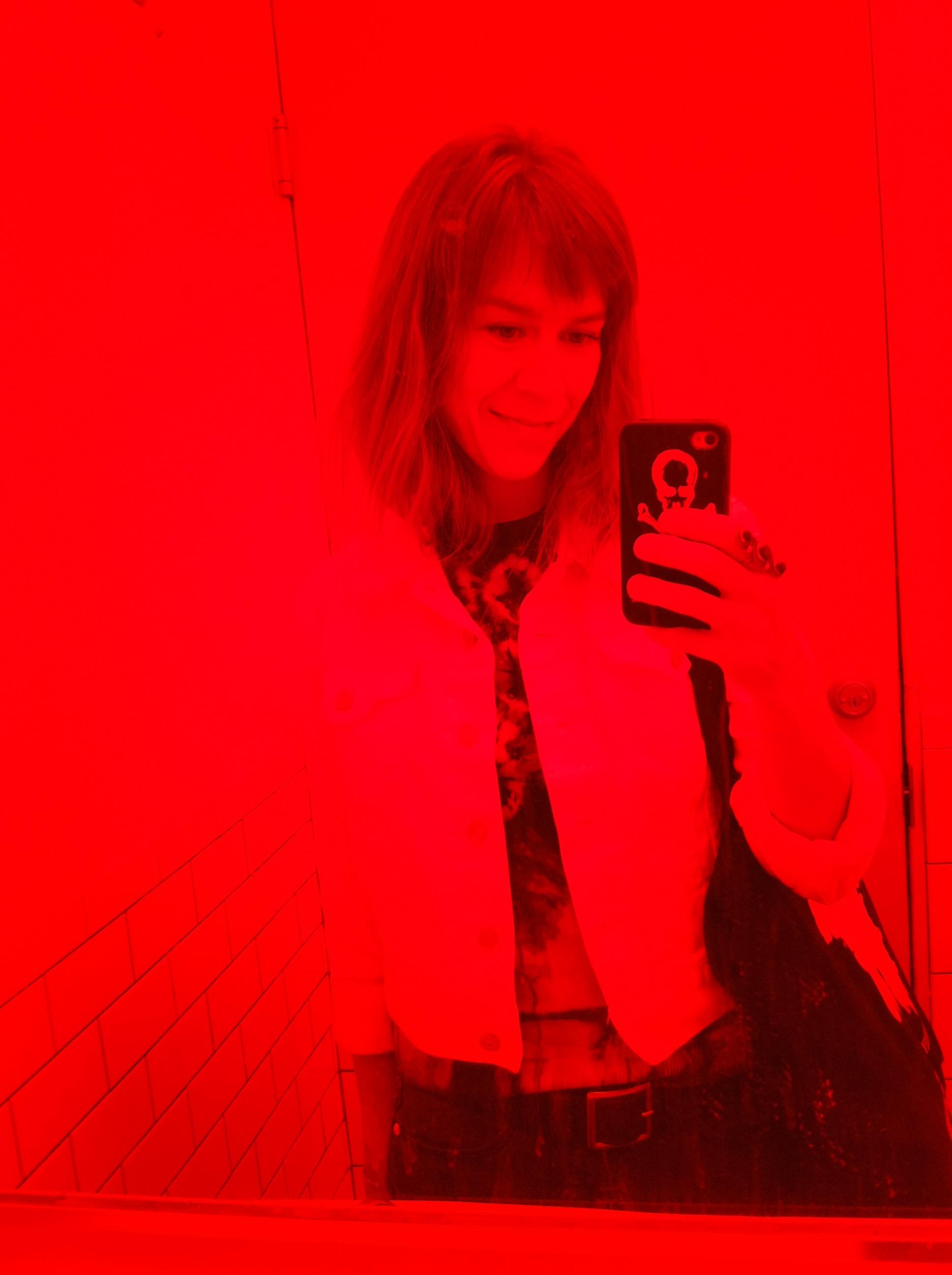 Weird bathroom lighting at Jo's Coffee on South Congress in Austin, TX