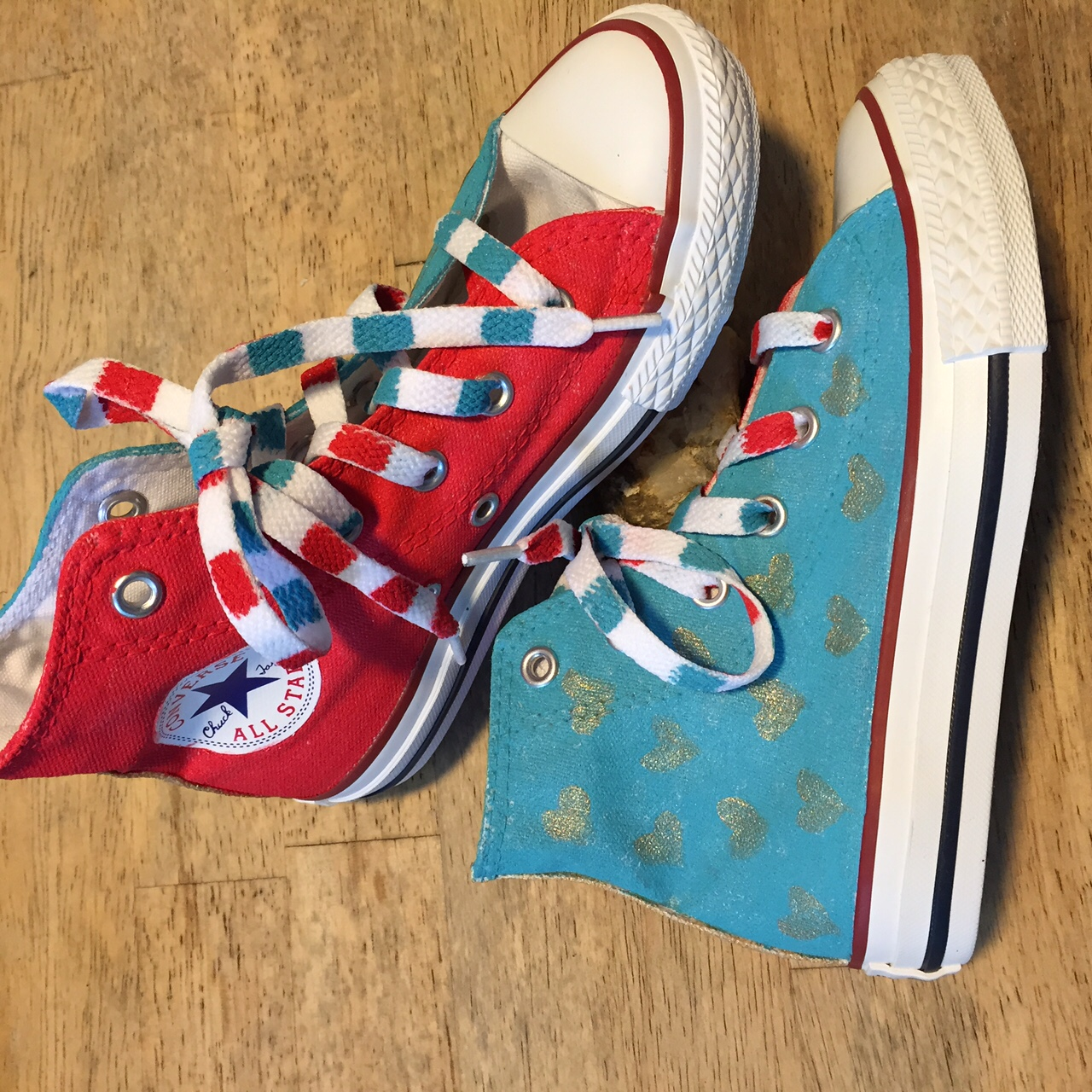 The second pair of Converse I customized to benefit Youth Art Exchange.