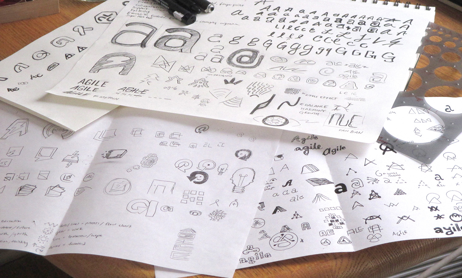 Broad logo exploration sketches using type and image