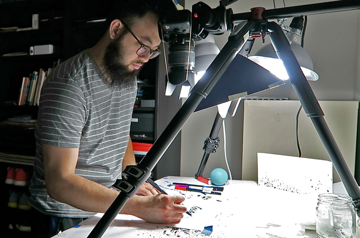 Terence's  overhead camera setup where he films his  calligraphy videos