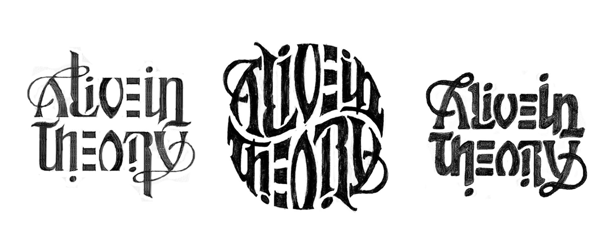 John's ambigram logo sketches for the band  Alive in Theory