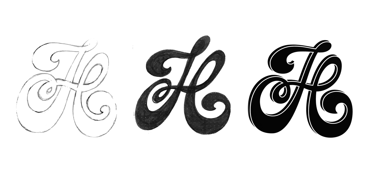 Sketch, refined and vectored letterform