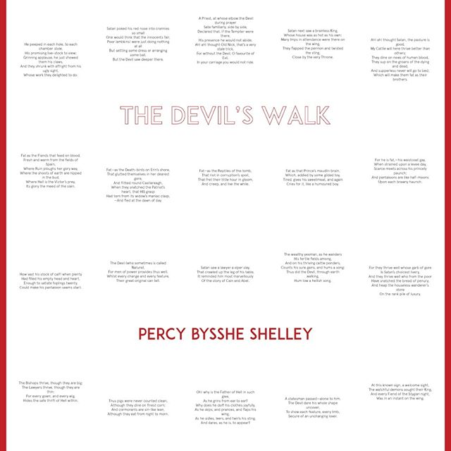 "here's a take on my favorite poem by ""ozymandias"" author (and husband to ""frankenstein"" author mary) percy bysshe shelley. this poem is called the devil's walk. i wanted to see it poster-size. #devilswalk #percybyssheshelley #posterdesign"