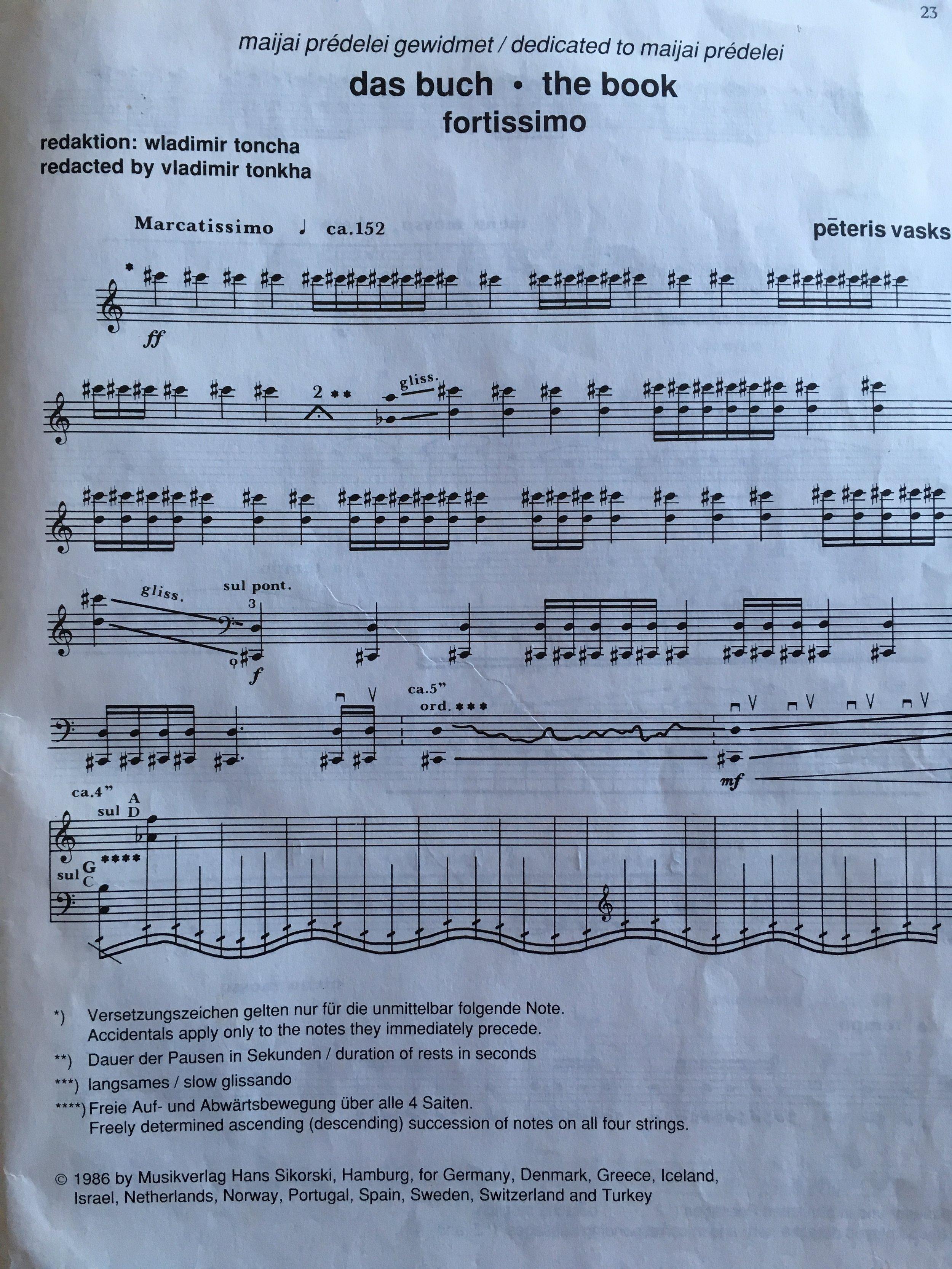 La primera página de 'Gramata cellam' de Peteris Vasks.