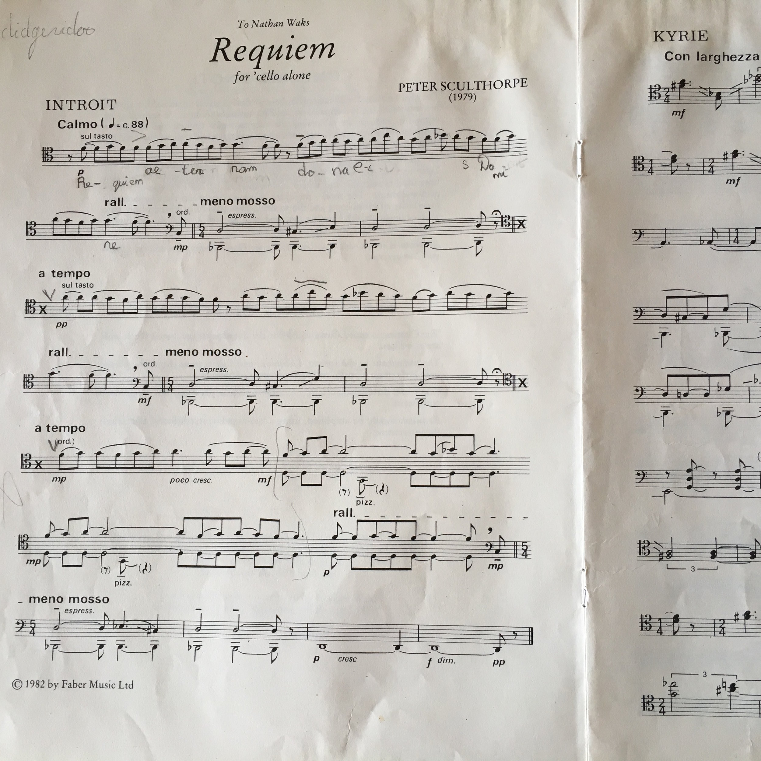 First page of 'Requiem for 'Cello Alone'.