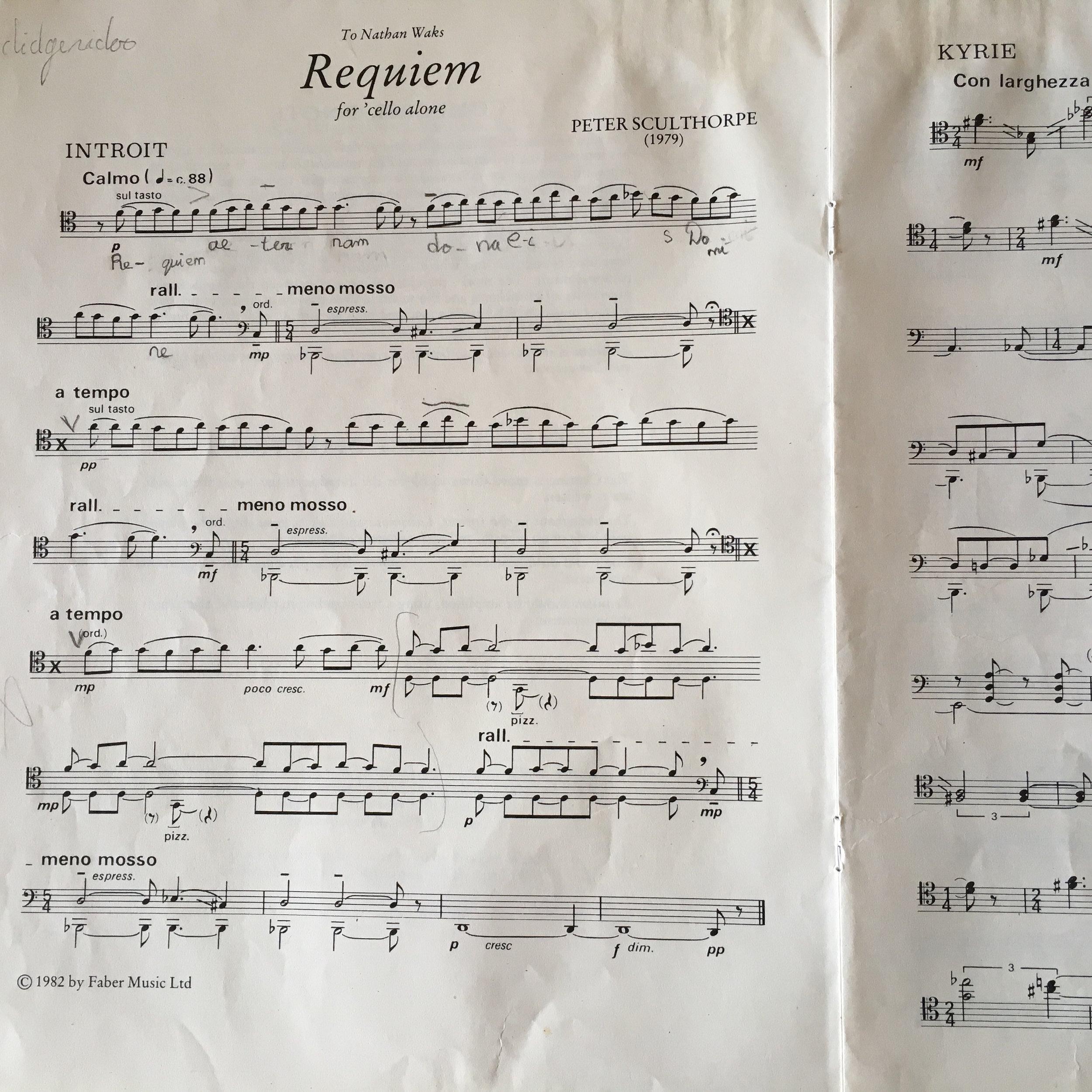 Primera página de 'Requiem for 'Cello Alone' de Peter Sculthorpe.