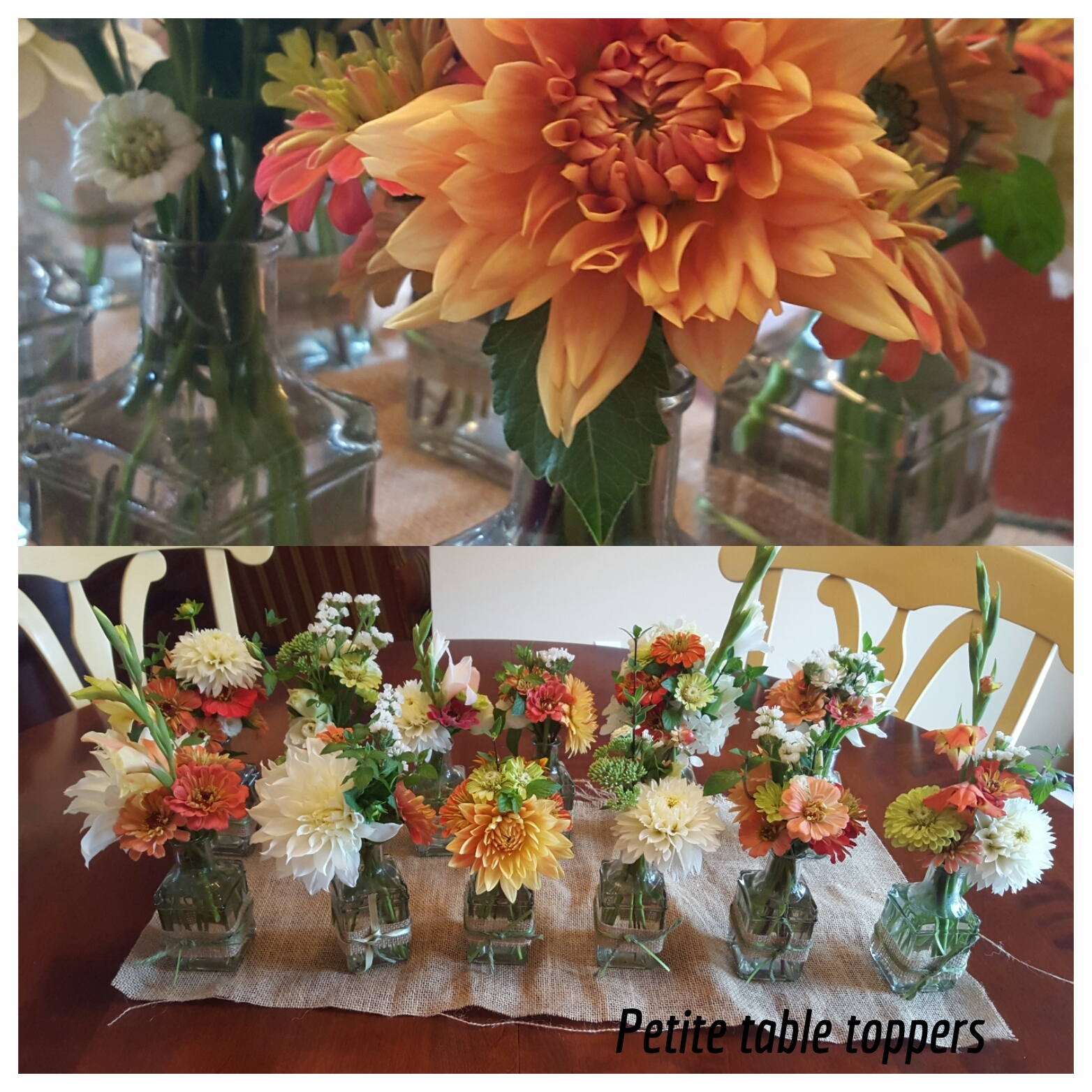 Dahlias, zinnias, mint and other fresh cut flowers for a monmouth county wedding