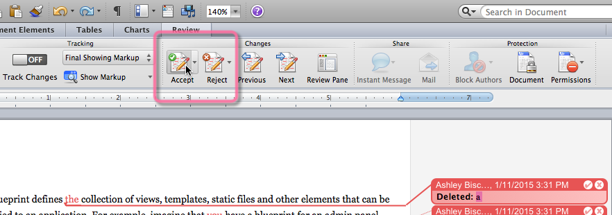 Accepting or Rejecting changes through Word's toolbar buttons