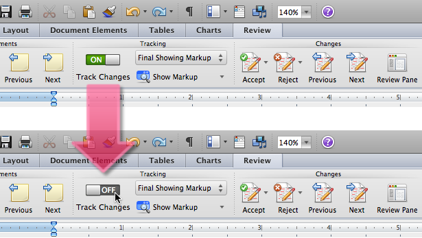 """Disabling """"Track Changes"""" in Word for Mac"""