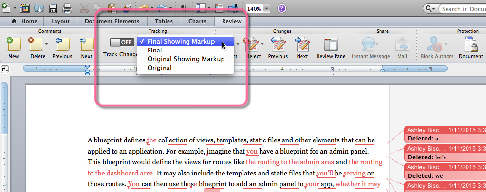 """Using the """"Track Changes"""" pulldown to toggle between document views"""