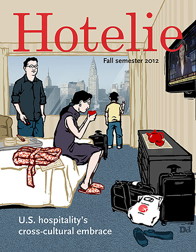Hotelie    The cover for this hotel trade magazine. I put up  sketches  for it on my blog.