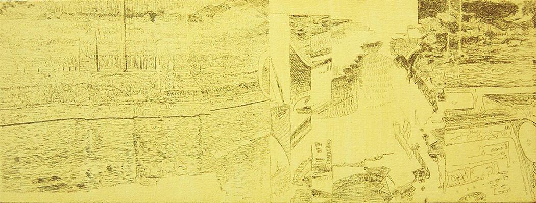 "Windmills   Graphite & Oil on Canvas  18"" x 8""  2016"