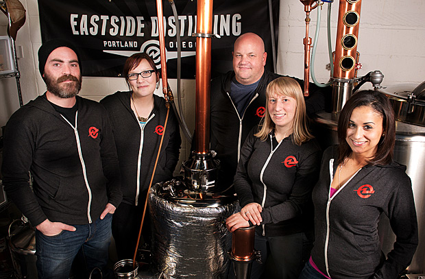 Photo:  www.eastsidedistilling.com   Melissa Heim is second from the right. She's a master distiller for Portland's Eastside Distilling, the first womanmaster distiller west of the Mississippi and the youngest master distiller in the United States.