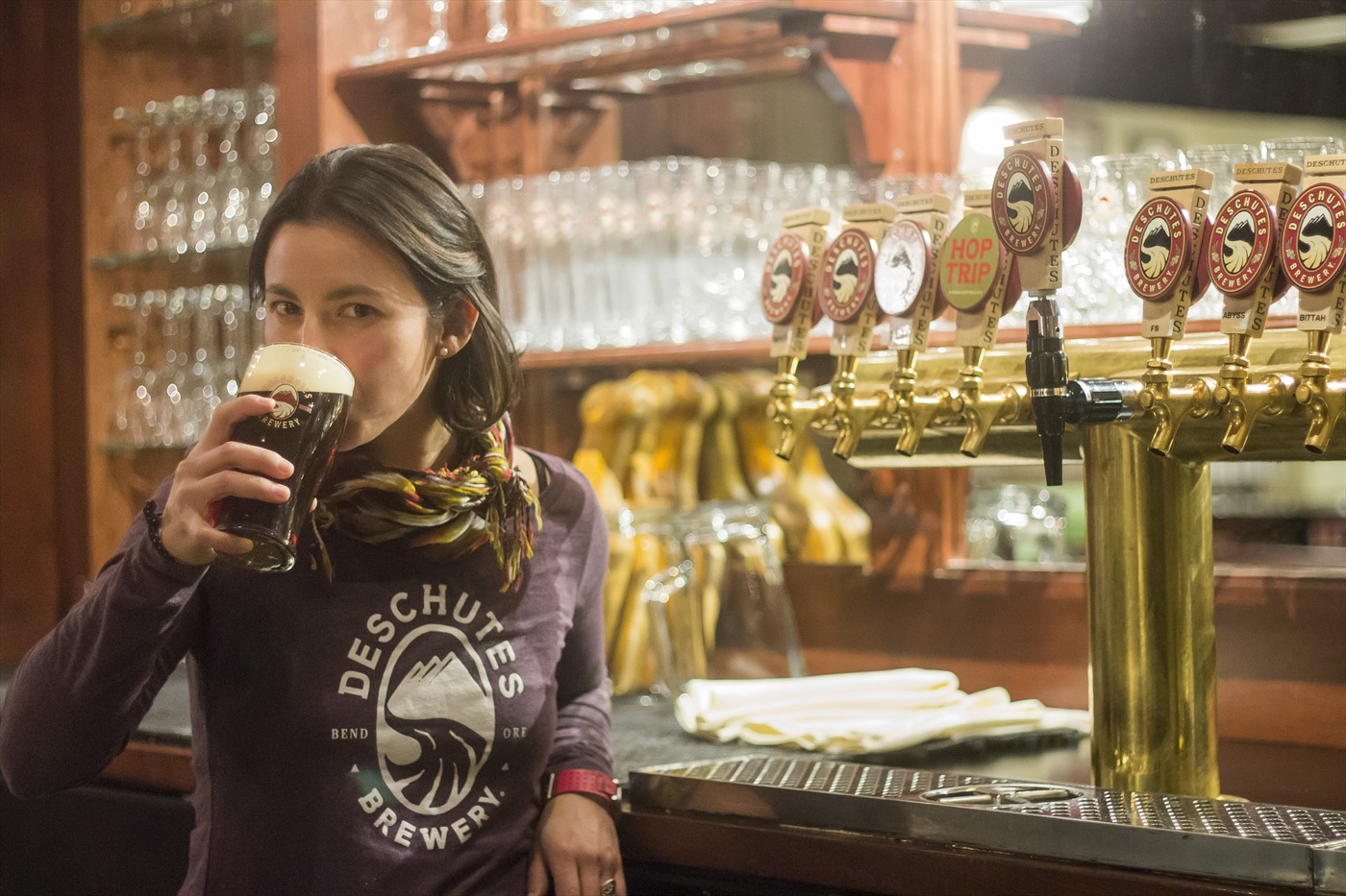 Assistant Brewmaster, Veronica Vega enjoying a pint at the brewpub in Bend.   Photo courtesy:  Deschutes Brewery