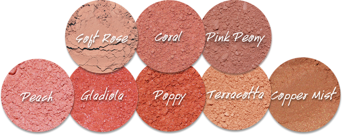 Theses are warm-tone blushes, though people who wear cool colors can wear Soft Rose, Coral, Pink Peony, and Peach. The Copper Mist doubles as a bronzer.