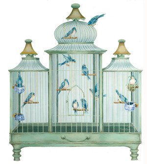 Bird Cage Fire Screen Decorative Wooden Pieces