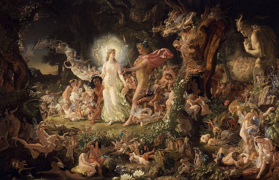 The Quarrel of Oberon and Titania  by   Noel Paton   : fairies in   Shakespeare