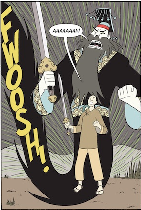 In BOXERS, Little Bao transforms into a mythological hero. Copyright Gene Luen Yang