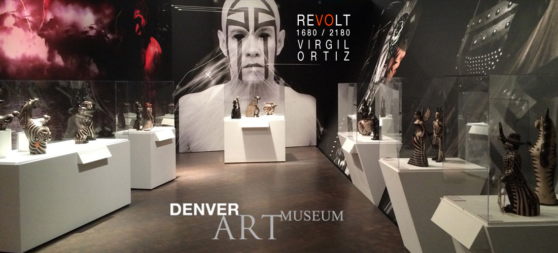 """Revolt 1680/2180"" is on view at the Denver Art Museum until May 1, 2016. Installation view of   Revolt 1680/2180: Virgil Ortiz  ,   ©   Virgil Ortiz."
