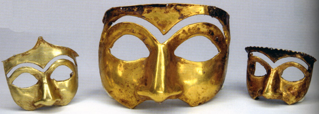 Golden masks excavated in Kalmakareh, Lorestan, Iran. First half of first Millennium BC. National Museum of Iran. Image by Nightryder84.