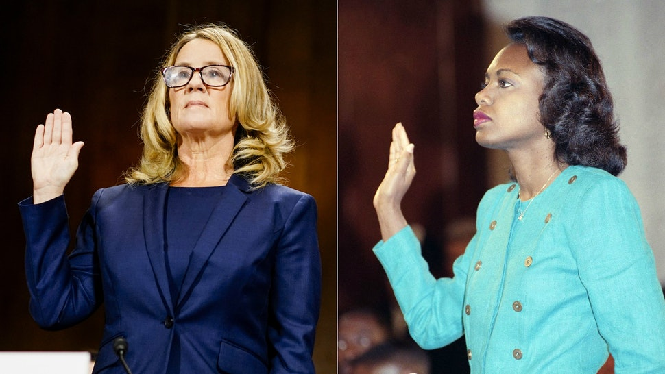 Dr. Christina Blasey and Dr. Anita Hill, both living proof that we're stuck in our own time loop that still features a chorus of old white guys with too much power not listening to women.