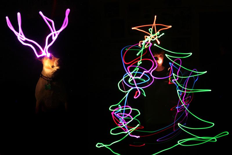 light drawing christmas card