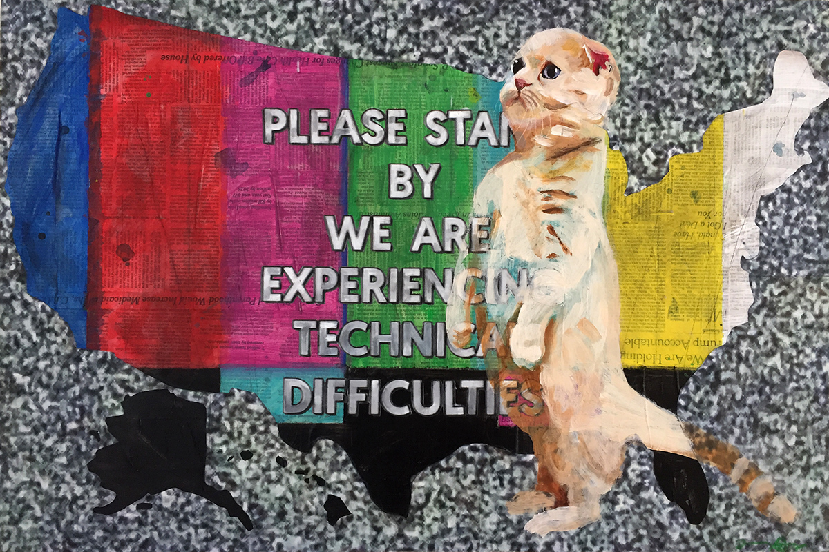 """PLEASE STAND BY   acrylic, charcoal and collage on board  20"""" x 30""""  $1400"""