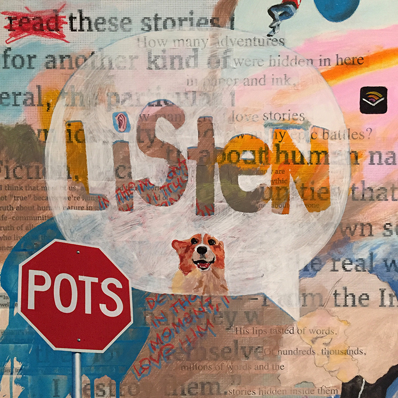 """Listen   acrylic and collage on board  18"""" x 18""""  NFS"""