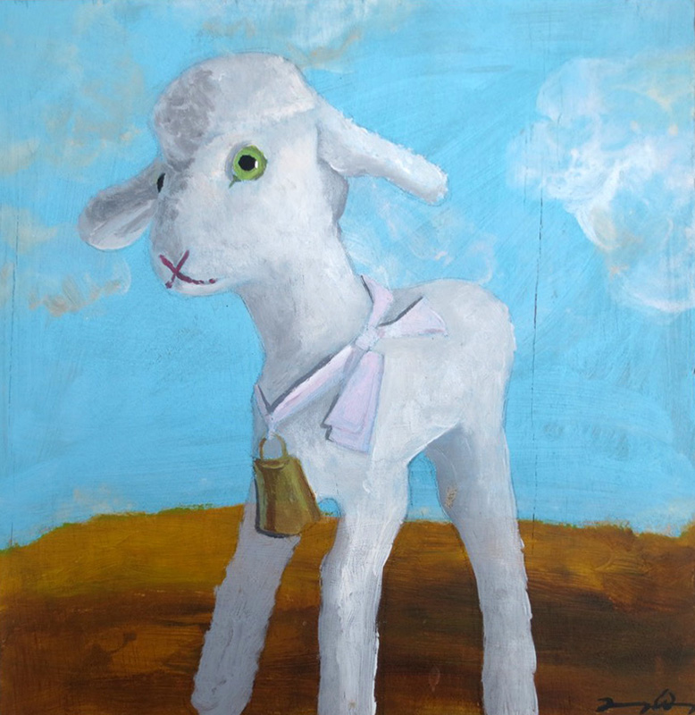 """Lamby   acrylic on board  10"""" x 10""""  private collection"""