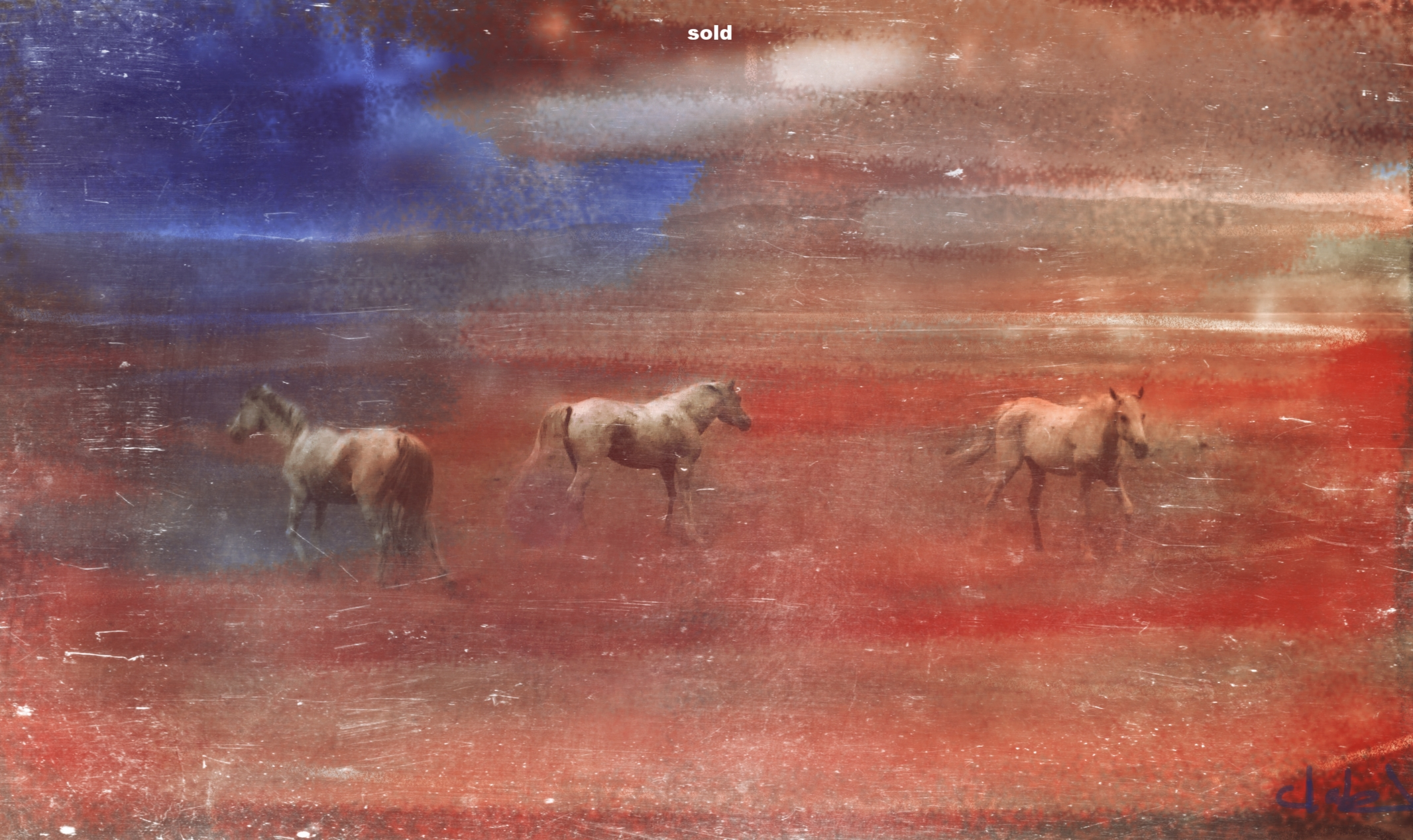 THREE HORSES, acrylic on canvas, 30'x 40'
