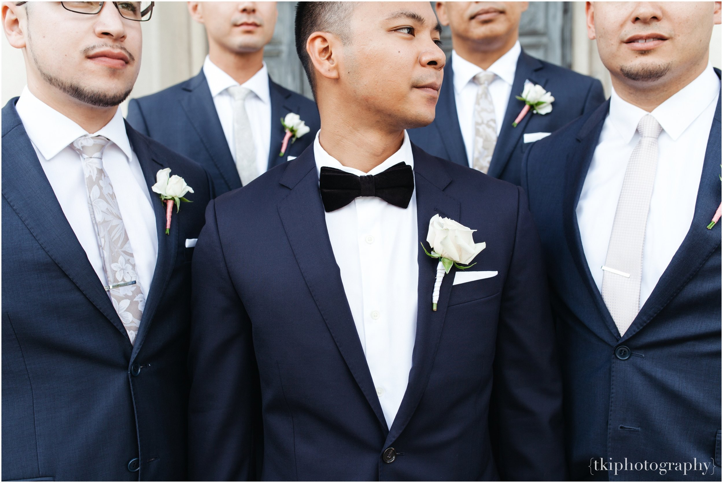 With mismatch patterned champagne ties from  The Tie Bar , they each had an individual charm to the pack.