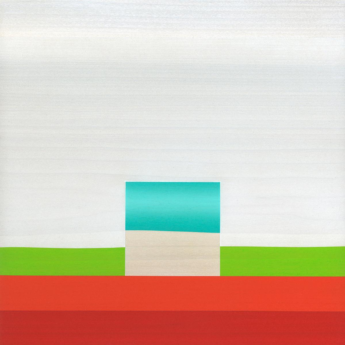 "Immanence  Gouache / Graphite / Wood    11"" x 11"" x 1"" 2010"