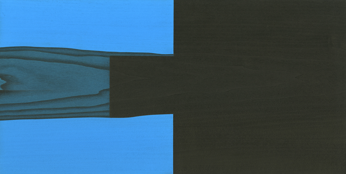 "Near #1        Gouache / Ink / Aquarel / Wood 8.25"" x 16.5"" x 1""   2011"