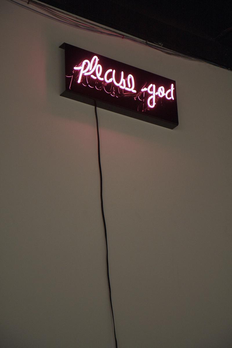 """please god    Neon   15' x 2'8"""" x 5""""   2010  (2 of 3)"""