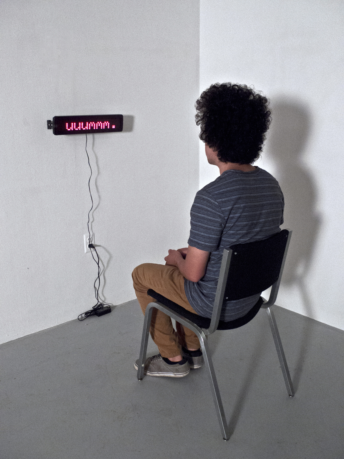 """ummm…    Digital LED Sign and Chair   48"""" x 48"""" x 48""""   2011 (1 of 3)"""