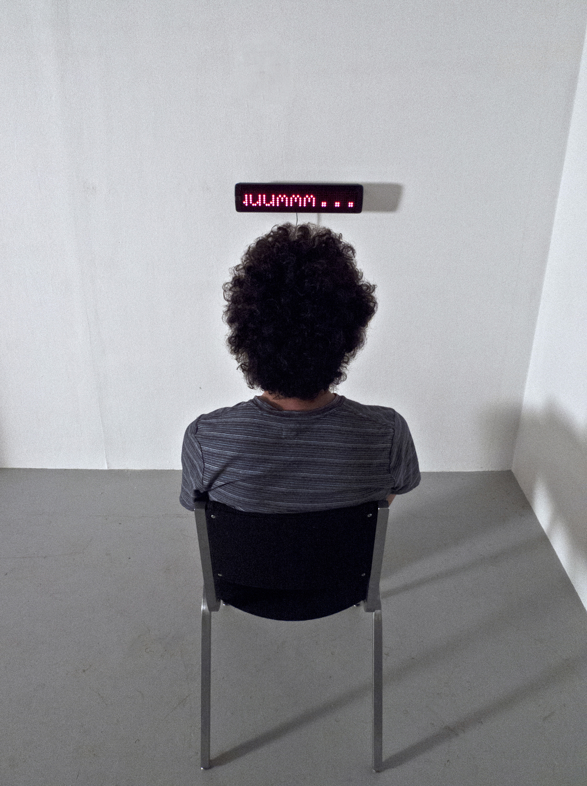 """ummm…    Digital LED Sign and Chair   48"""" x 48"""" x 48""""   2011 (2 of 3)"""