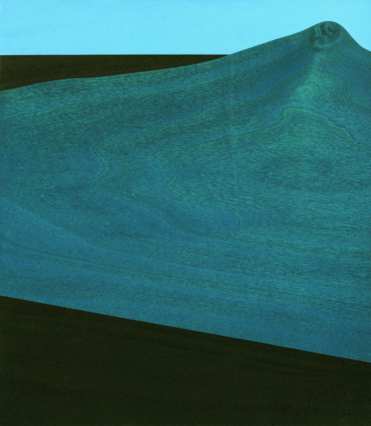 "Dwelling #2  Gouache/Ink/Wood 8 ¾"" x 10"" x 1"" 2015"