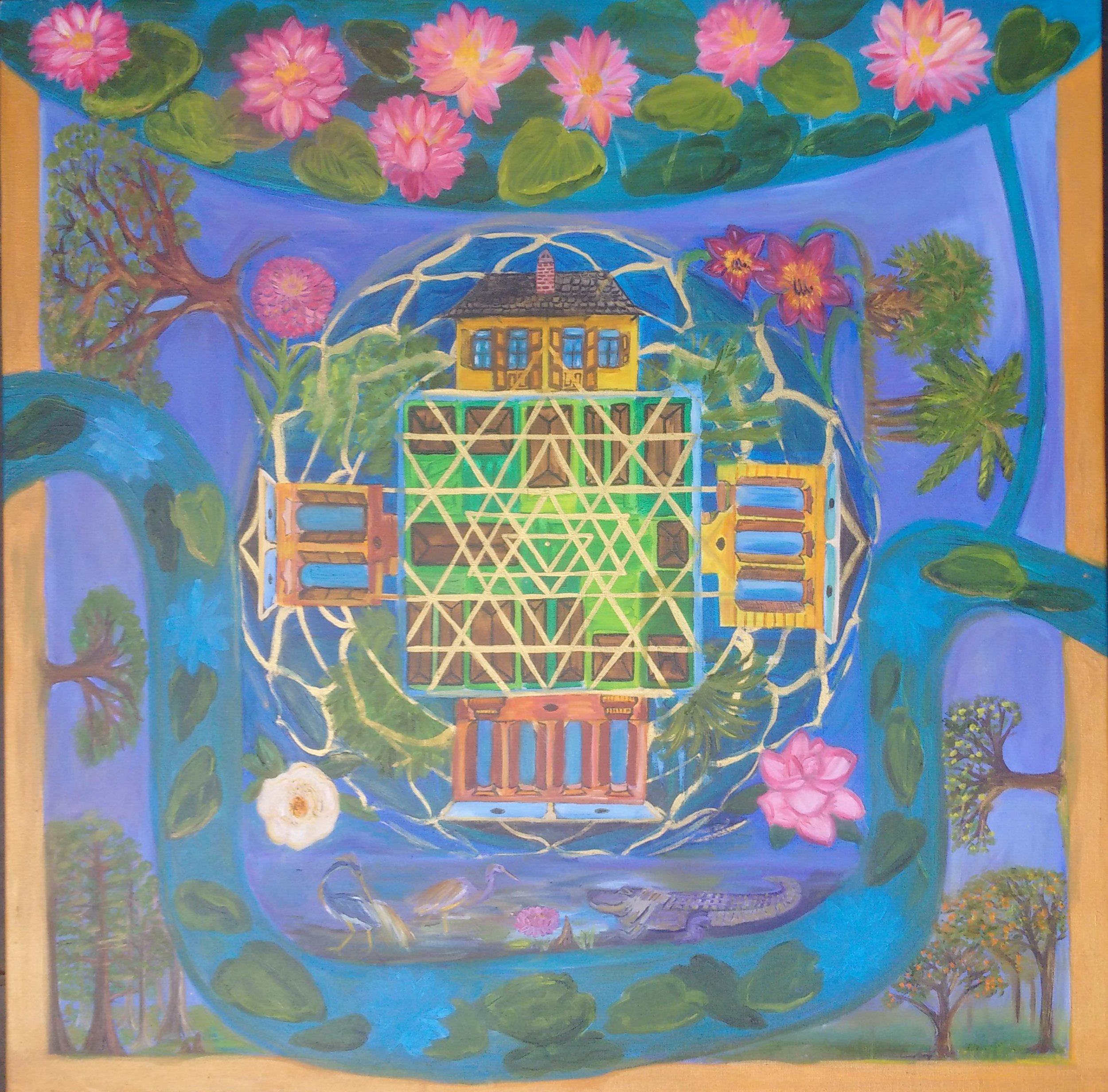 """Yantra City Mandala   Medium:    oil  on Canvas   Dimensions:  36"""" x 36"""" x .75""""   Price:  Original Oil on Canvas,  $1200   $150 20""""x20""""x1.5"""" Artist Giclee, hand embellished   Year Completed:  2014   Primary Discipline:  Painting   Description:    Sri Yantra center energy field of abundance and harmony, city block community, historical family houses [creole cottage, side hall, single, double shotgun houses), local flowers and trees, surrounded by the Mississippi and Ponchatrain Bay"""