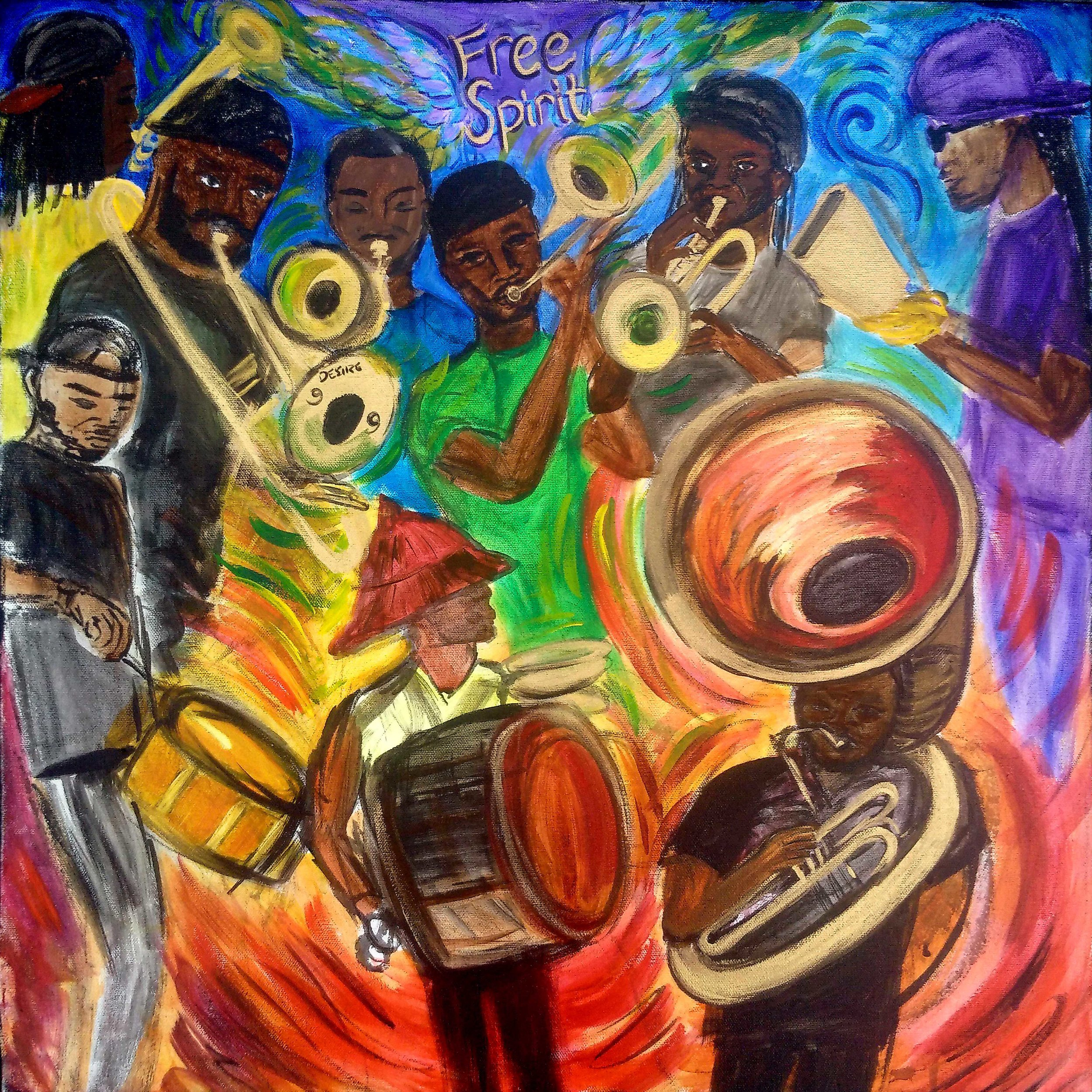 "Live at Tubmam Square, REAL LOVE on the DAILY, FREE SPIRIT BRASS BAND.    24""x24"" acrylic on canvas  for FSBB"