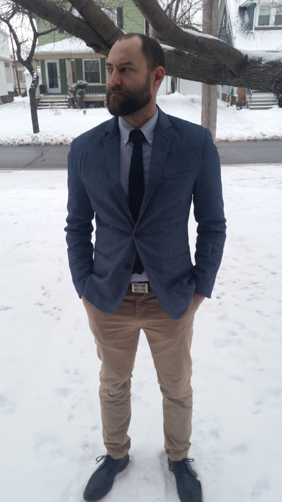 I went shopping at H&M and got this jacket and pants. Uniqlo shirt.  Fifth & Brannan tie . Ben Sherman belt. These shoes with the most supple leather ever were a bargain from Marshall's. Beard grown by me, so I guess it's artisanal.