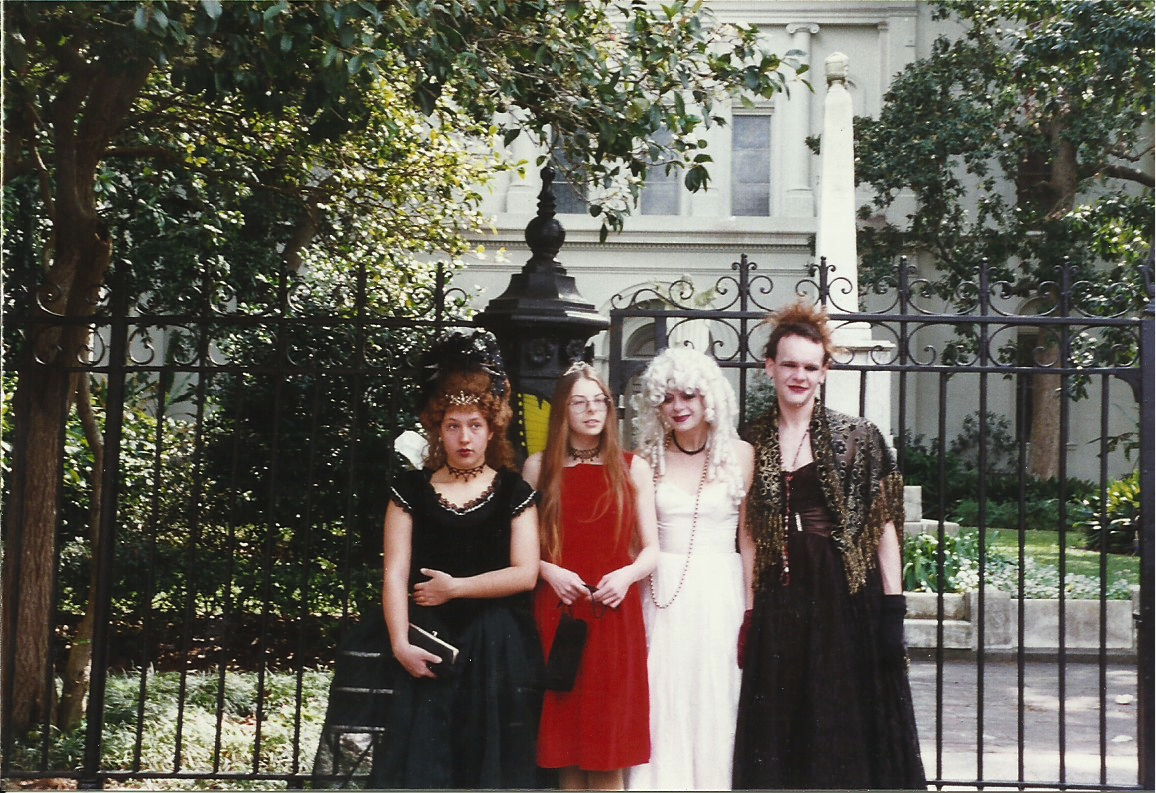 My BFF Taryn, myself (look at that hair!), my mom and her boyfriend at the time.